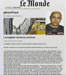 le-monde-publishes-iran-tragedy-continues-by-sattar-beheshti